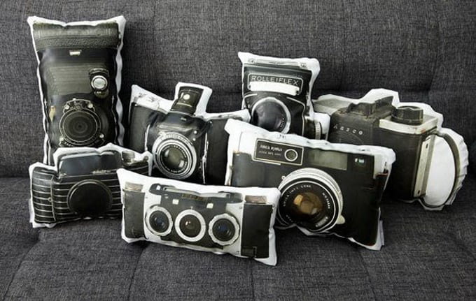 Vintage Camera Pillow Series by Ronda J. Smith -camera