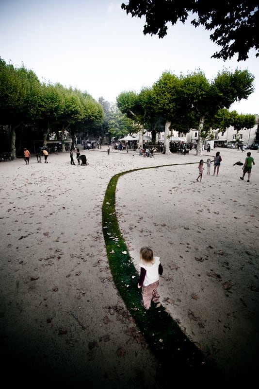 Gaelle Villedary's Green Carpet Rolls Through Provincial Town in Southern France -france