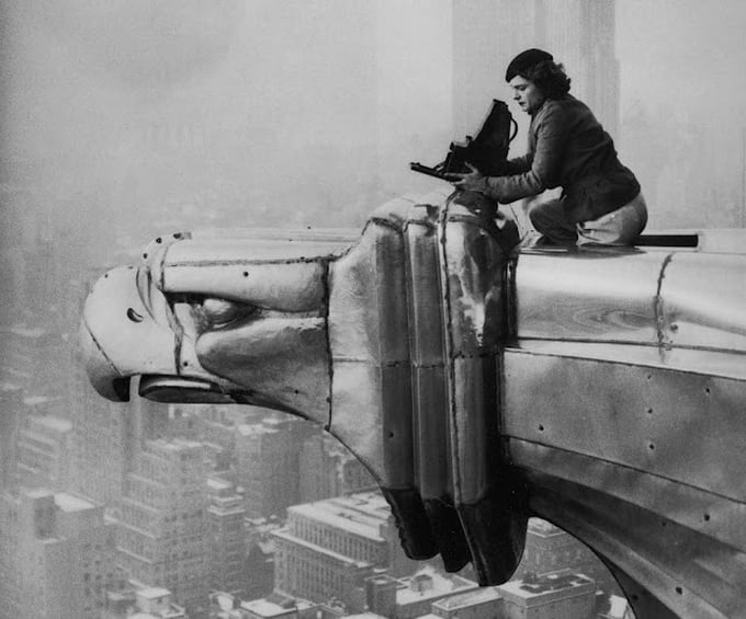 Margaret Bourke-White on the roof of Chrysler Building, 1934