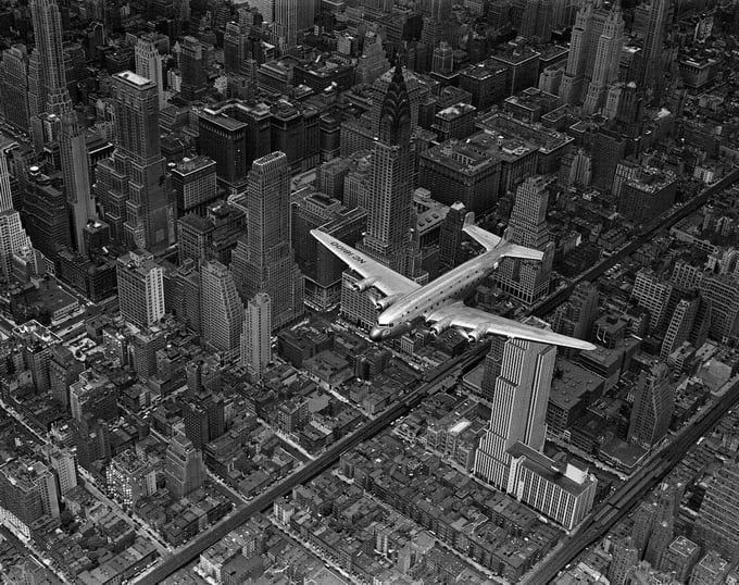 DC-4 over Manhattan, 1939
