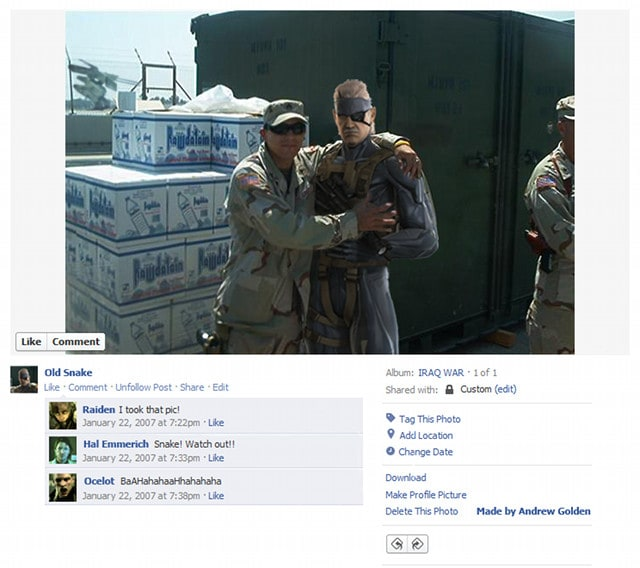 Old Snake Video Game Character Facebook Profiles - Video game Characters Get Real with Facebook Photos