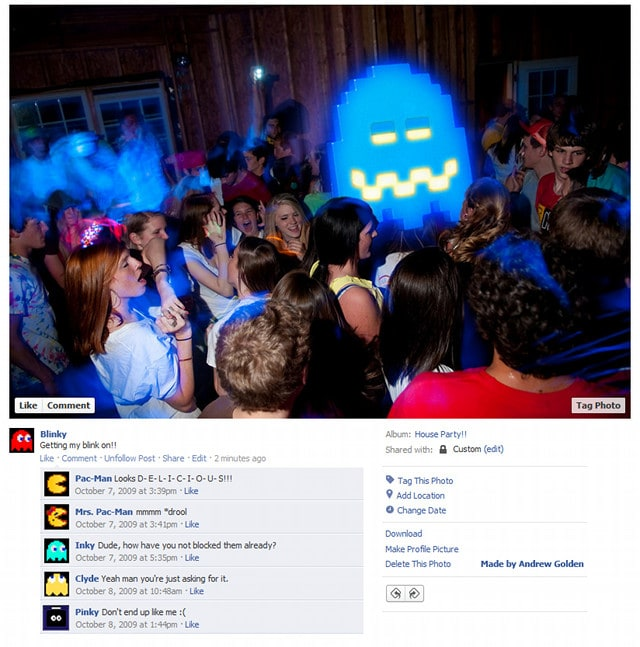 Pacman Video Game Character Facebook Profiles - Video game Characters Get Real with Facebook Photos