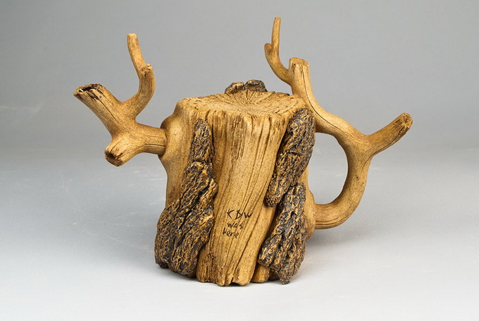 Ceramic, Wood, Teapot