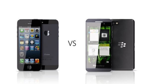 Comparison between BlackBerry Z10 and Apple's Iphone-3