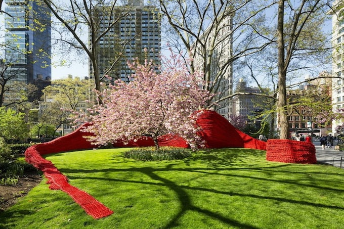 Orly Genger Installation in Madison Square Park