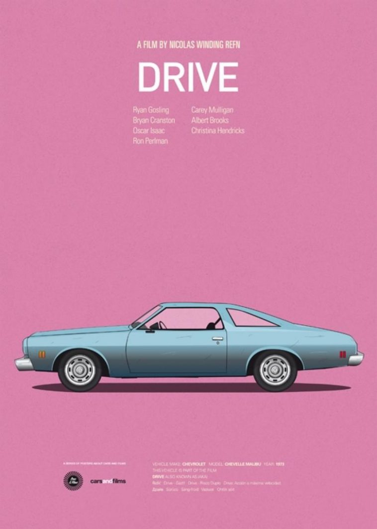 drive 780x1096 q9m0kas4qz 758x1065 - Posters with cars from movies by Jesús Prudencio