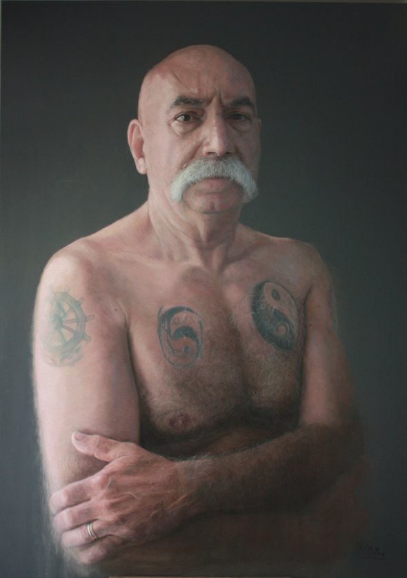 lobo del mar sea dog belloso drew this portrait of an old tattooed sailor in 2011 a pastel on wood piece it is 190 cm by 135 cm - Realistic Portraits by Ruben Belloso