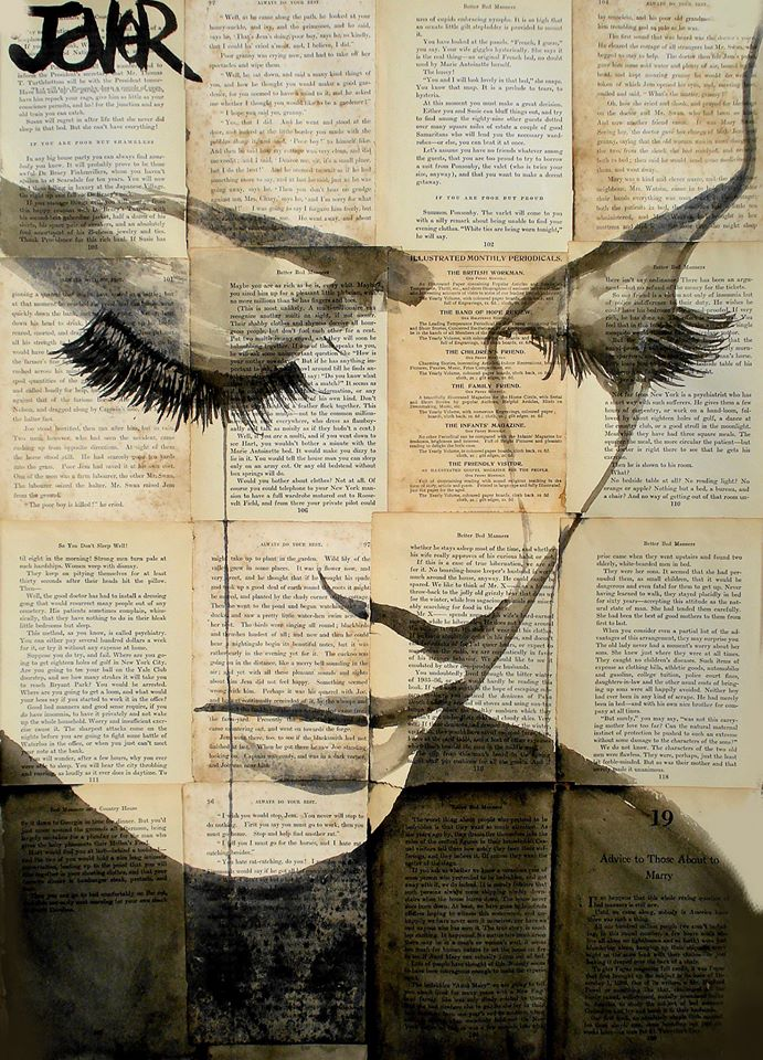 Beautiful painted works by loui jover freeyork for Newspaper canvas art