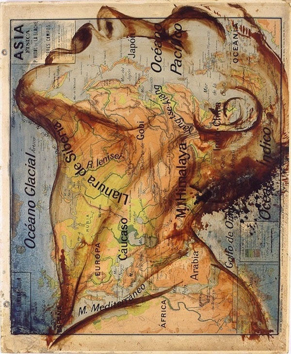 Map Paintings by Fernando Vicente -painting, maps