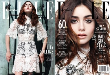 Lily Collins on ELLE Canada's cover