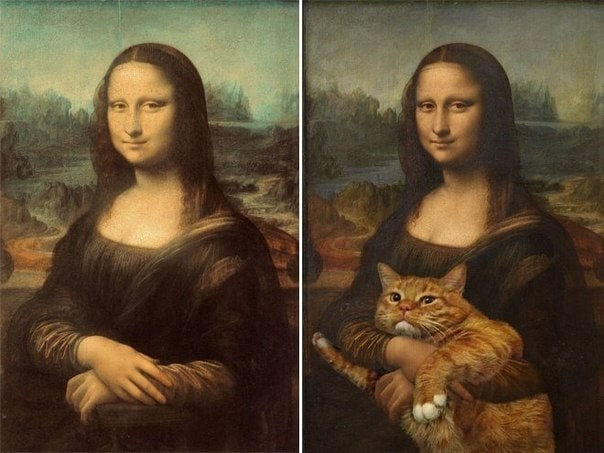 Funny interpretation of famous paintings -painting, funny, famous, cat