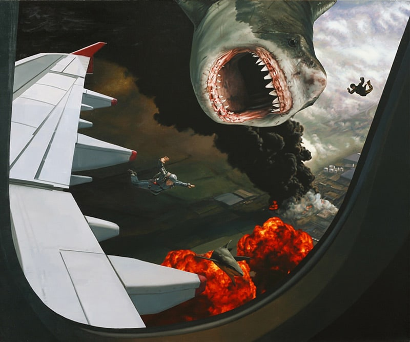 Sharks and Skydivers by Artist Caleb Brown -