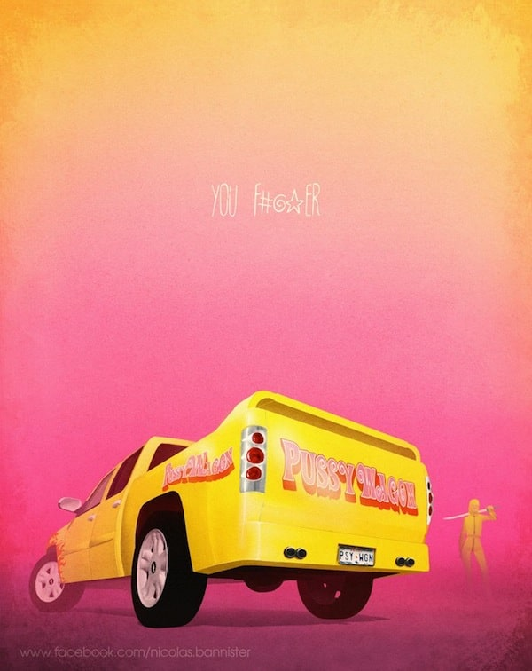 Illustrations of Famous Cars in Pop-Culture by Nicolas Bannister -TV-Show, posters, poster, movie, illustrator, illustration, french, famous, cars, car, artist