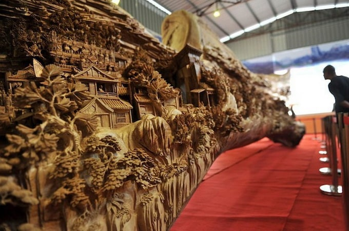 Wooden sculpture by Zheng Chunhui -wood, sculpture, chinese, carving, artist