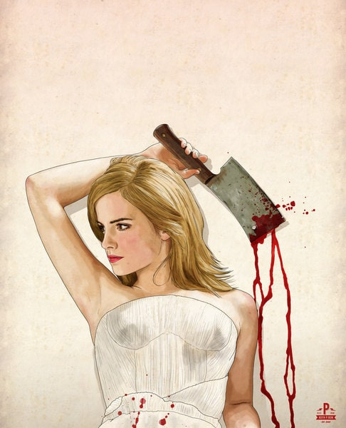 """Famous Actresses in """"Slaughterhouse Starlets"""" by Keith P. Rein -illustrator, illustration, famous, artist, american, actresses, Actress"""