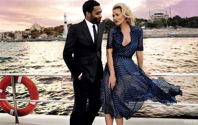 Kate Moss and Chiwetel Ejiofor for Vogue US -vogues us, vogue, supermodel, photographer, model, Mario Testino, kate moss, famous, british, actors, actor
