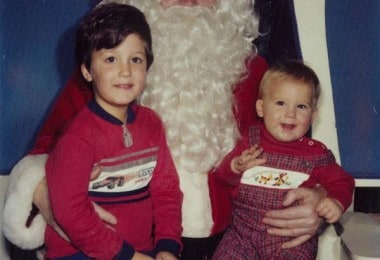 Two Brothers sit on Santa's Lap every Year since 1984