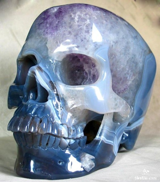 Beautiful Skull Carved From Single Agate Geode -skull