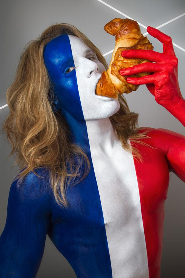 International-Flags-Body-Painted-Models-Eating-Their-National-Foods-2