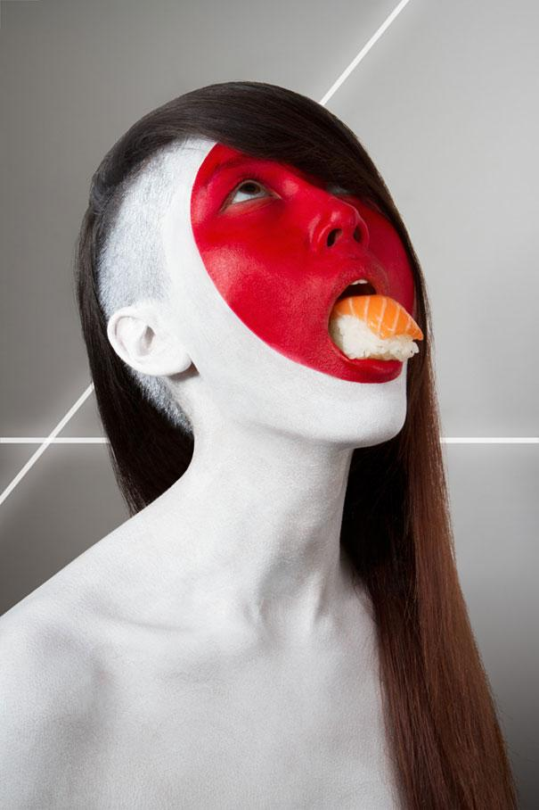International-Flags-Body-Painted-Models-Eating-Their-National-Foods-4