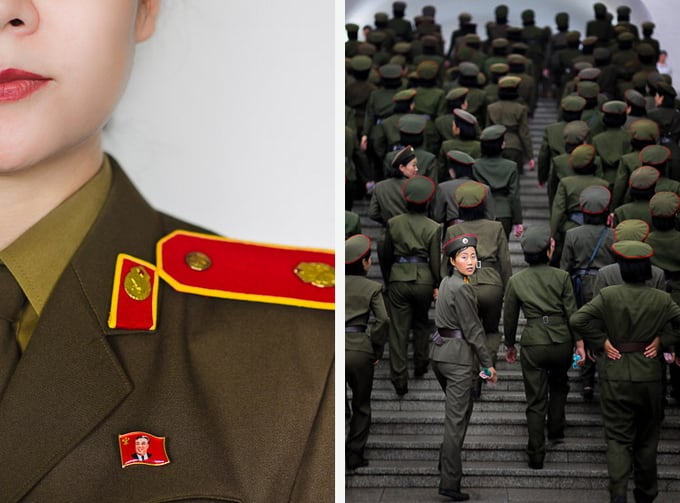 guide with Kim Il Sung badge