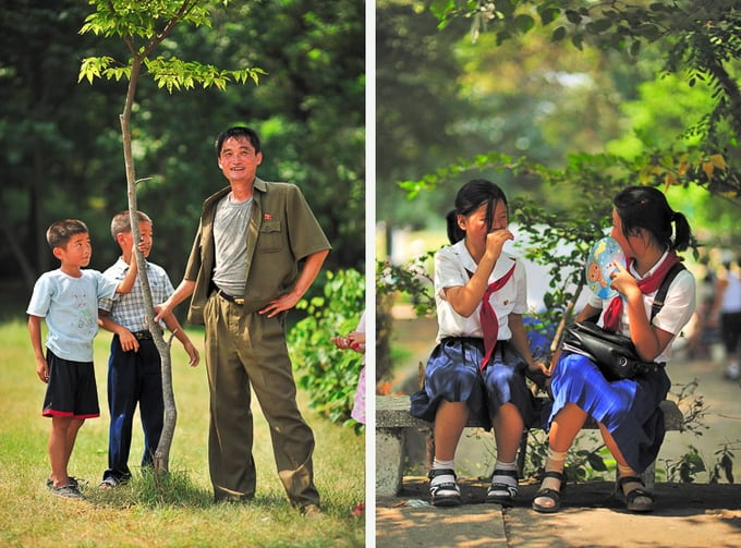father with sons in the park on liberation day