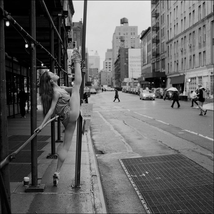 Ballerinas on Streets of NY City -new york, black and white