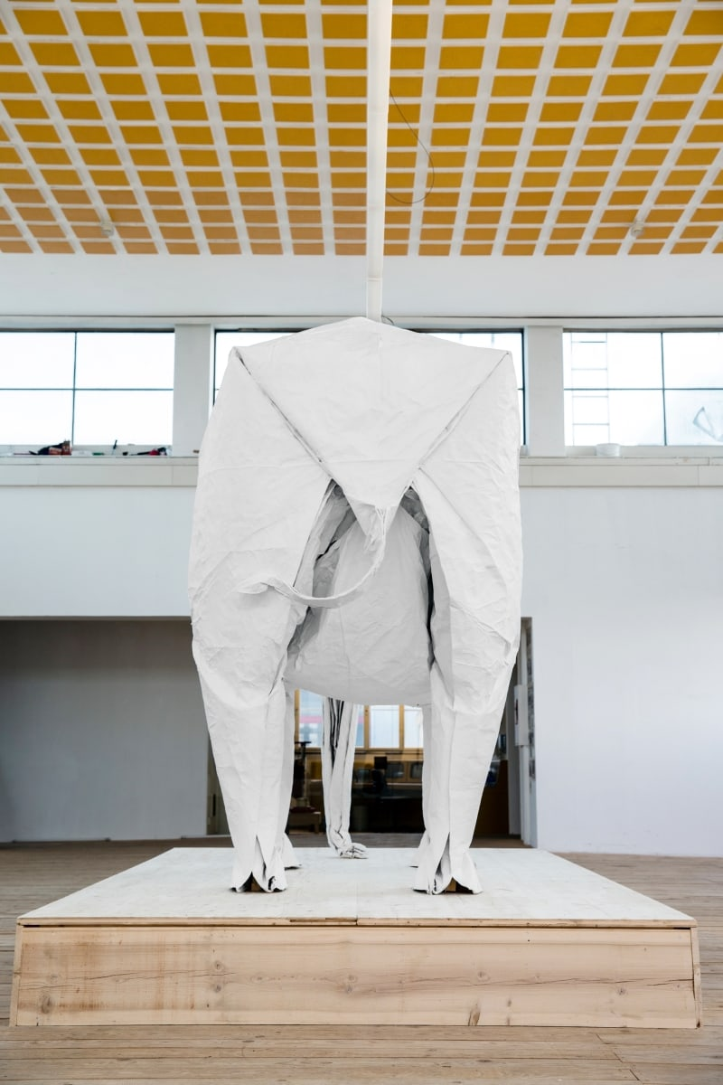Origami Artist Made Life-Sized Elephant With One Sheet Of Paper -Video, sculpture, origami