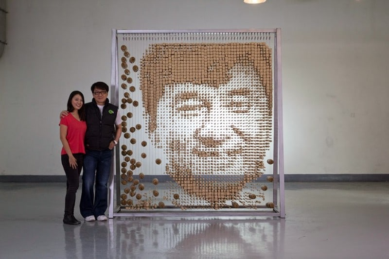 This Artist Uses 64,000 Chopsticks to Create Jackie Chan Portrait -portrait, Hong Yi