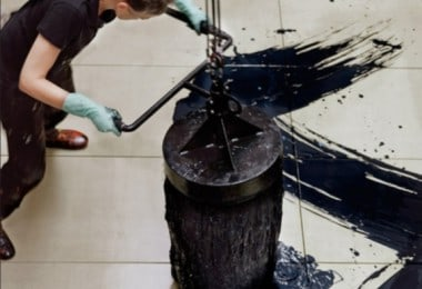 Artist Creates Abstractions With Massive Paint Brushes