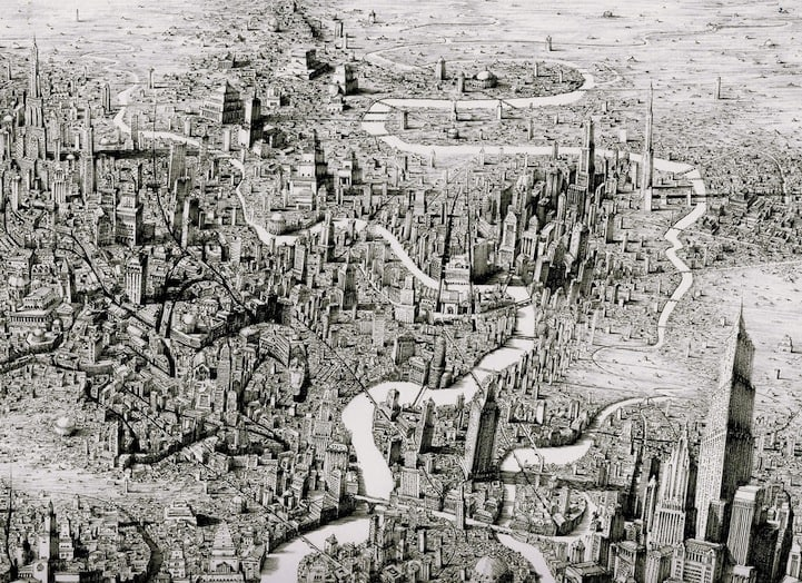 BenSack1 - Intracite Cityscapes Emerge from Pen Illustrations by Benjamin Stack