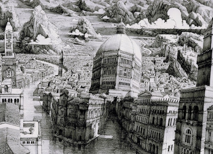 BenSack10 - Intracite Cityscapes Emerge from Pen Illustrations by Benjamin Stack