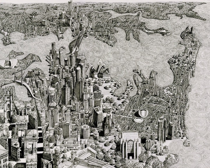 BenSack3 - Intracite Cityscapes Emerge from Pen Illustrations by Benjamin Stack