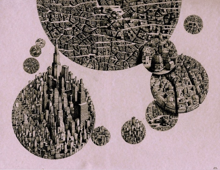 BenSack7 - Intracite Cityscapes Emerge from Pen Illustrations by Benjamin Stack