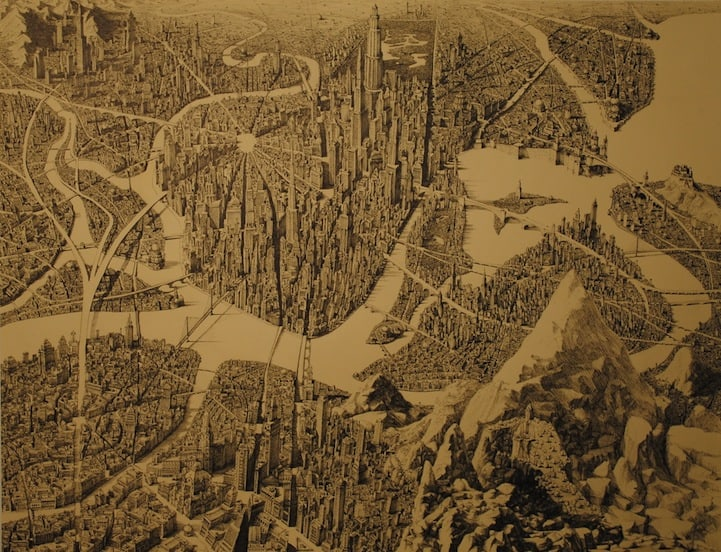 BenSack8 - Intracite Cityscapes Emerge from Pen Illustrations by Benjamin Stack