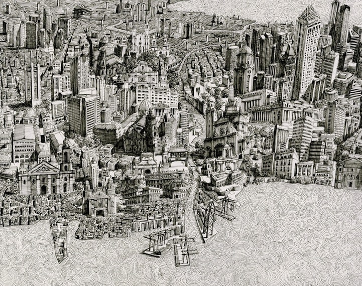 BenSack9 - Intracite Cityscapes Emerge from Pen Illustrations by Benjamin Stack