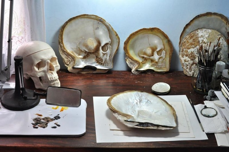 Mother of Pearl Shell Skull Carvings by Gregory Halili -sculptures