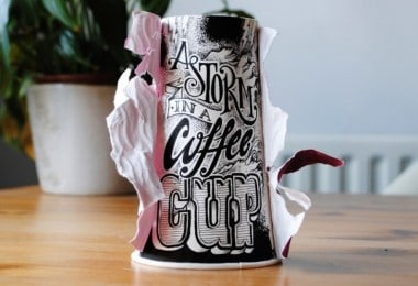 """""""Coffee Time"""" - Typographic Art On Discarded Coffee Cups by Rob Draper"""