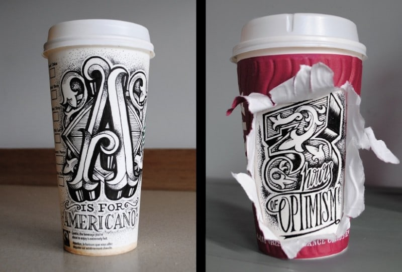 Coffee_Time_Typographic_Art_on_Discarded_Coffee_Cups_by_Rob_Draper_2014_02