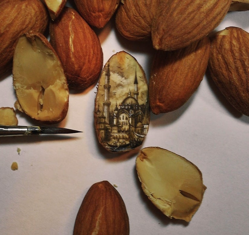 Paintings Made On Incredibly Tiny Surfaces Of Chocolate, Nuts or Seeds -
