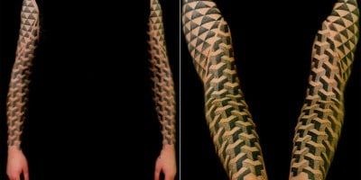 Polynesian and Escher Inspired Tattoos by Vincent Hocquet