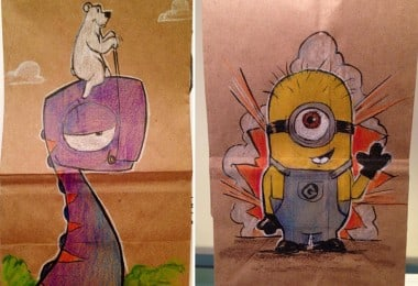 Every Day For The Last 2 Years, This Dad Drew On His First-Grader Son's Lunch Bags