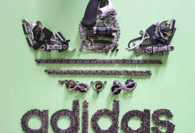 """100 Hoopties"" - Iconic Posters And Logos Made Of Bicycle Parts by Jenny Beatty"