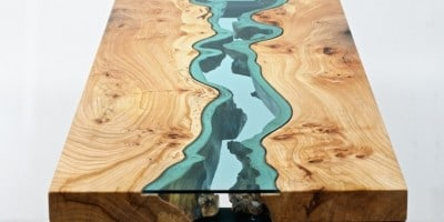 """""""The River Collection"""" – Wood Furniture Embedded with Glass Rivers and Lakes by Greg Klassen"""