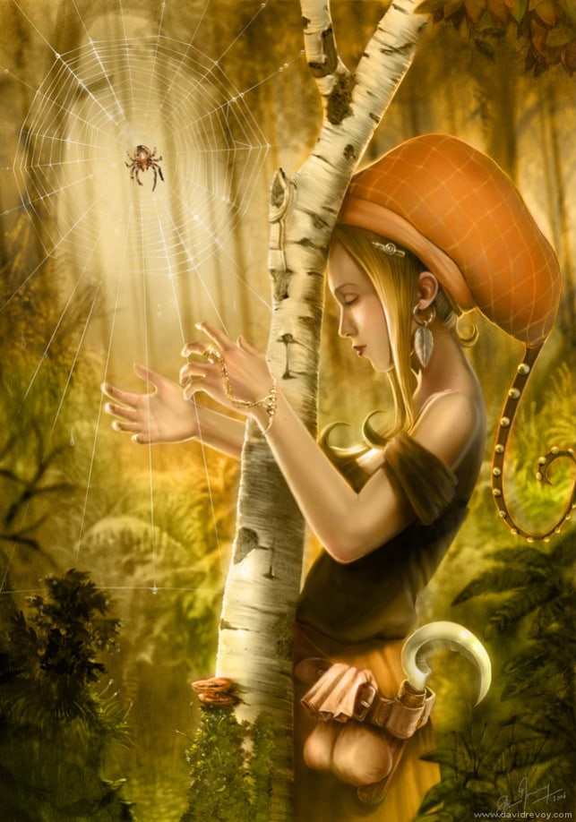 hippy-nature-girl-fairy-tale-spider-web-harp-wishes-dreams-music-fantasy-illustration-art-643x918