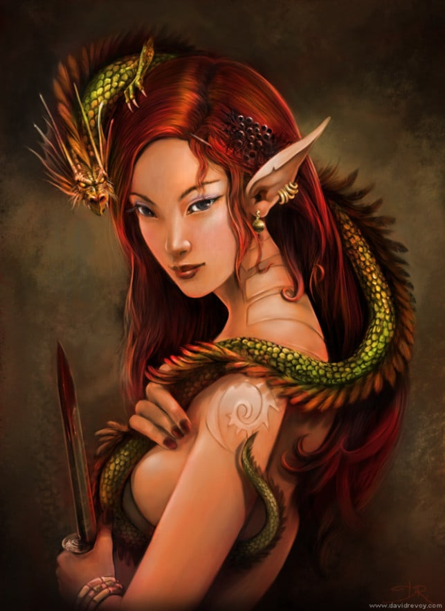 red-hair-elf-girl-woman-dragon-queen-fantasy-art-illustration-painting-643x882