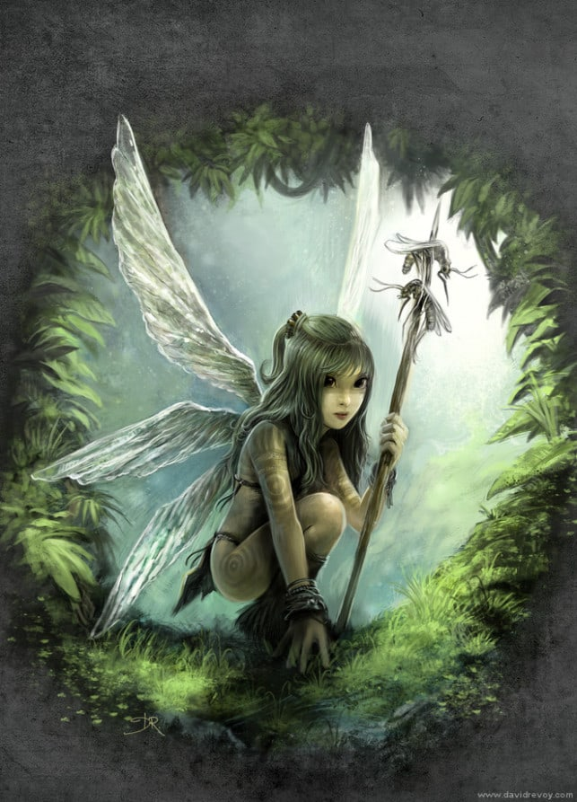 tribal-girl-warrior-nature-child-fantasy-illustration-fairy-tale-wings-design-painting-art-643x893