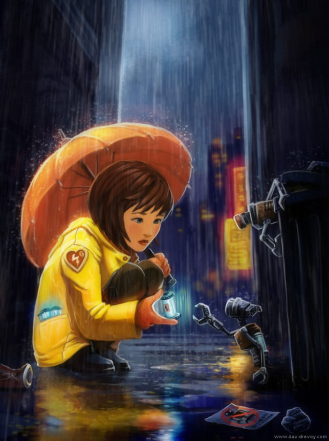 urban-fantasy-illustration-little-girl-robots-futuristic-art-painting-city-scene-643x862