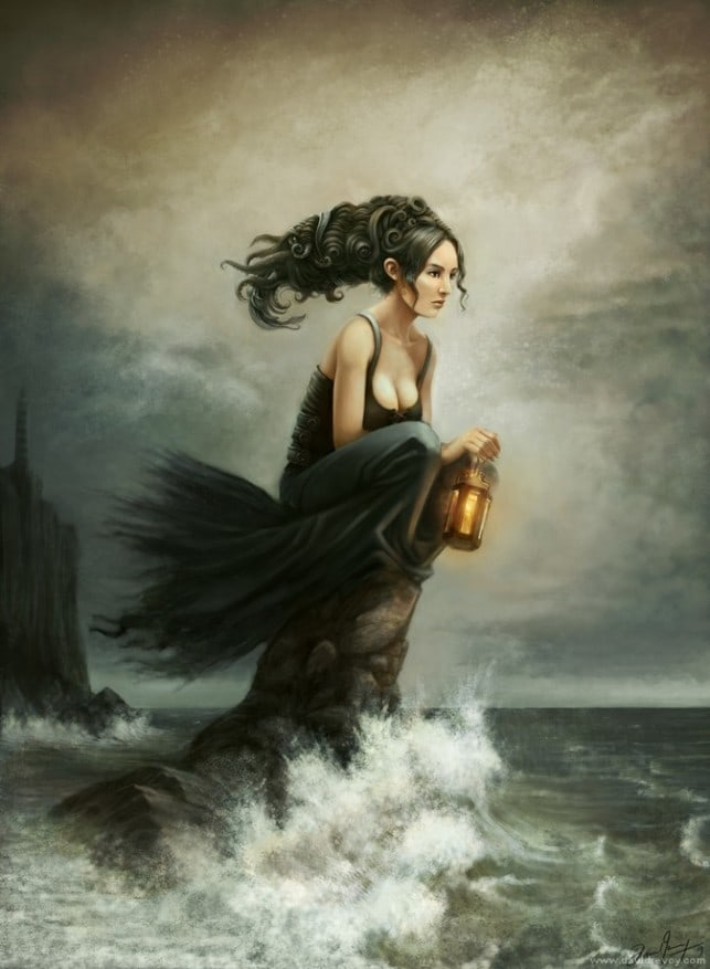 water-woman-sitting-on-rock-sea-shore-waves-lantern-lighthouse-fantasy-art-illustration-643x877