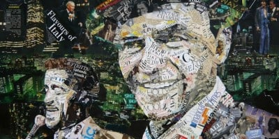 Iconic Collage Portraits Made Of Old Newspapers, Glossy Magazines and Posters by Ines Kouidis